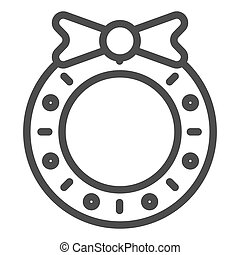 Christmas wreath line icon. Christmas decoration vector illustration isolated on white. Christmas door decor outline style design, designed for web and app. Eps 10.