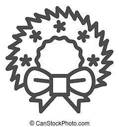 Christmas wreath line icon. Cristmas decoration vector illustration isolated on white. Xmas door decor outline style design, designed for web and app. Eps 10.