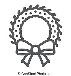 Christmas wreath line icon, xmas and winter, decoration sign, vector graphics, a linear pattern on a white background.