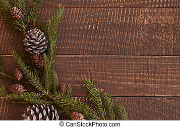 Christmas wreath lying on the table