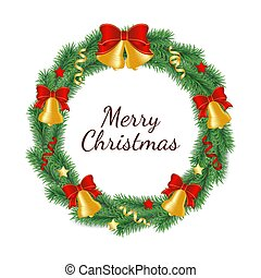 Christmas wreath made from branches of green tree in form of circle decorated with bells with bow, ribbons and stars.