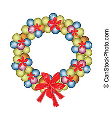 Christmas Wreath of Baubles and Red Bows