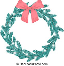 Christmas wreath of blue spruce with lights and a red bow. Flat vector illustration.