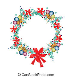 Christmas Wreath of Christmas Balls and Red Bows