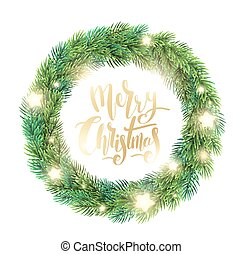 Christmas wreath of fir branches, glowing stars