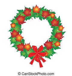 Christmas Wreath of Maple Leaves and Red Bows