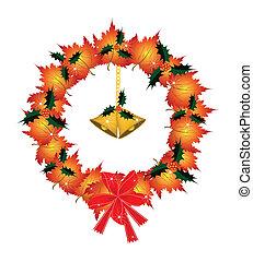 Christmas Wreath of Orange Maple with Golden Bells