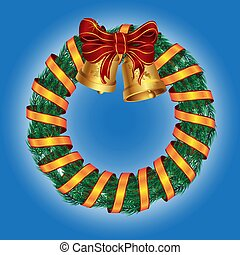 Christmas wreath of pine with bells and ribbon bow on isolated background. Vector image.