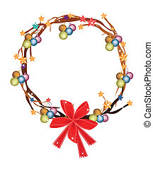 Christmas Wreath of Tree Branch with Christmas Ornaments