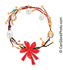 Christmas Wreath of Tree Branch with Easter Egg