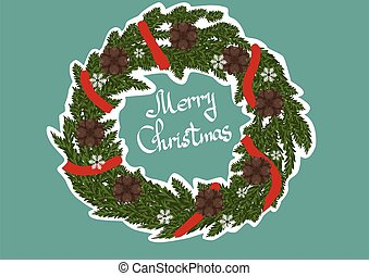 Christmas wreath on a light blue background
