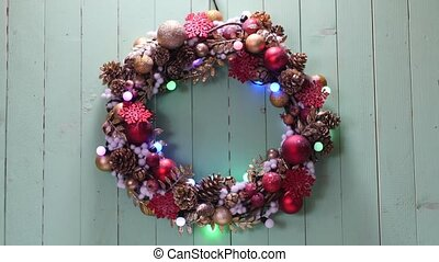 Christmas wreath on a wood background - Christmas wreath...