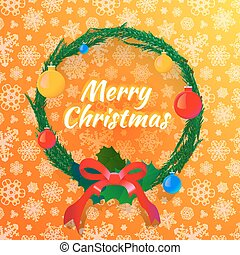 Christmas wreath on background with snowflakes