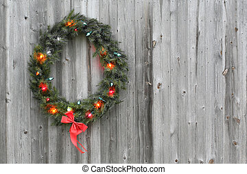 Christmas wreath on barn door