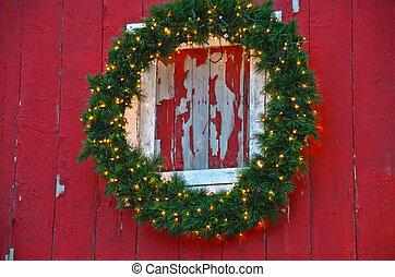 Christmas wreath on barn
