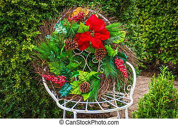 Christmas Wreath on Chair