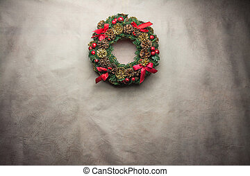 christmas wreath on Gray background