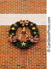 Christmas Wreath on Striped Brick