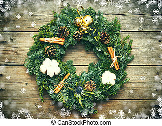 Christmas wreath on the wooden background - Christmas wreath...