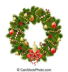 Christmas wreath on white background. Xmas decorations