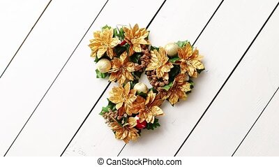 Christmas Wreath on White Wooden Background, Top View, Flat...