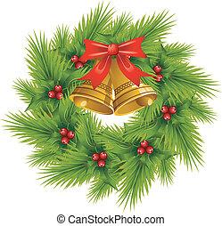 Christmas Wreath over white. EPS 8, AI, JPEG