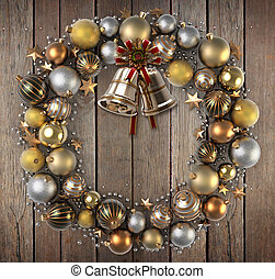 Christmas wreath over wood background