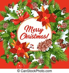 Christmas wreath poster with New Year gift, ribbon