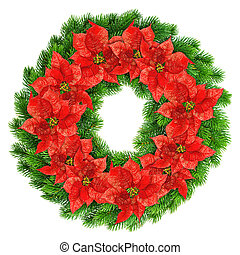 christmas wreath red poinsettia flowers isolated on white