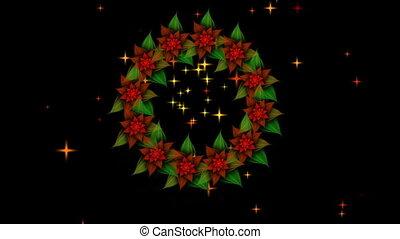 Christmas wreath, red poinsettia - Christmas decoration,...