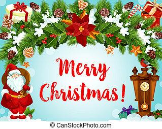 Christmas wreath Santa gifts vector greeting card