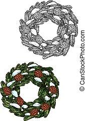 Christmas wreath sketch fir branches, pine cones