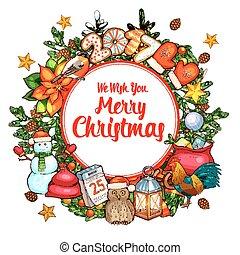 Christmas wreath sketch poster for xmas design