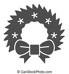 Christmas wreath solid icon. Cristmas decoration vector illustration isolated on white. Xmas door decor glyph style design, designed for web and app. Eps 10.