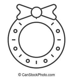 Christmas wreath thin line icon. Christmas decoration vector illustration isolated on white. Christmas door decor outline style design, designed for web and app. Eps 10.