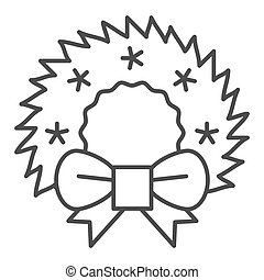 Christmas wreath thin line icon. Cristmas decoration vector illustration isolated on white. Xmas door decor outline style design, designed for web and app. Eps 10.