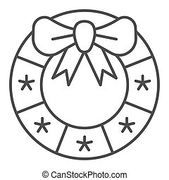 Christmas wreath thin line icon. Xmas decoration vector illustration isolated on white. Door decor outline style design, designed for web and app. Eps 10.