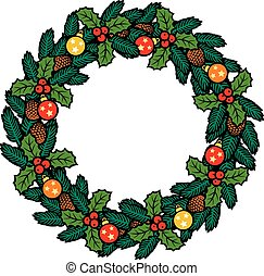 Christmas wreath with baubles and decorative beads