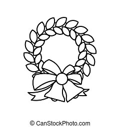 Christmas Wreath With Bell Icon Outline Style Christmas Wreath