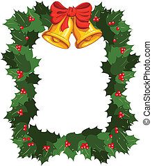 Christmas wreath with bells, background