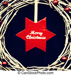 christmas wreath with big red star. photo