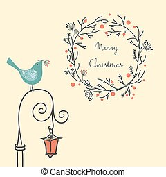 Christmas wreath with bird on the old street light. Vintage New Year element. greeting card.