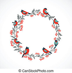 Christmas wreath with birds and ashberry, vector