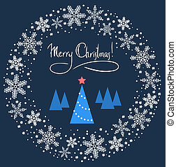 Christmas Wreath with Blue Tree and Red Star. Vector Illustration