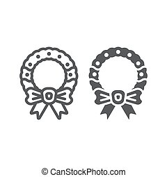 Christmas wreath with bow line and glyph icon, christmas and decor, holiday wreath sign, vector graphics, a linear pattern on a white background.