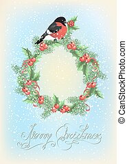 Christmas wreath with bullfinch on the snowfall background