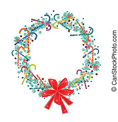 Christmas Wreath with Candy Canes and Red Bow