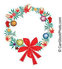 Christmas Wreath with Christmas Ornaments and Red Bow