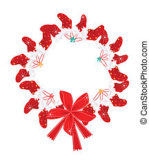 Christmas Wreath with Christmas Stocking and Red Bow