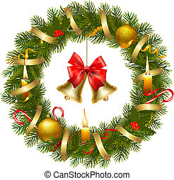 Christmas wreath with christmas tree and bell.